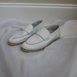 Vince 9 Daria White Leather Espadrille Shoes
